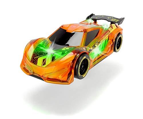 Dickie Toys Lightstreak Racer, leuchtendes Rennauto mit Friktionsantrieb, Licht & Soundwechsel, inkl. Batterien, 20 cm, orange
