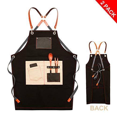 HUANPIN kookschort BBQ-schort met de door u gewenste naam en motief - kleur: zwart - de individuele schort voor heren en dames met verstelbare nekband, keukenschort