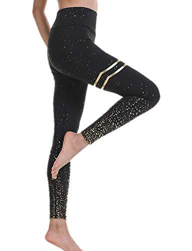 DEEWISH Hosen Damen, Frauen Leggings Hose Yogahose Sport-Leggings Jogginghose | Sport Fitness Workout Leggins | Stretch Yoga Hosen Pants | Sporthose, Schwarzes Gold, M