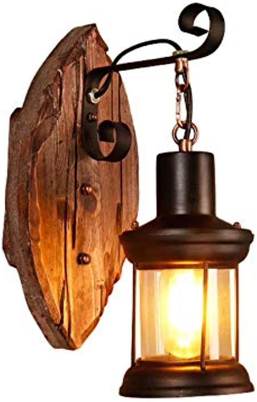 Aussenlampe Wandbeleuchtung Wandlampe Wandleuchte Innen Amerikanische Feste Holz-Restaurant-Wand-Beleuchtungslampe, Nostalgische Weinlese-Dekorative Leuchte