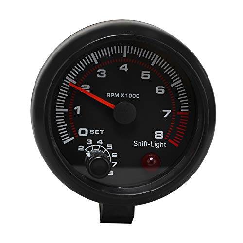 Timorn Tachometer RPM Gauge, Tachometer Gauge RPM Tachometer RPM Light Backlit Tach Gauge 8k Tachometer for 4 6 8 Cylinder Tachometer with Adjustable Shift Light