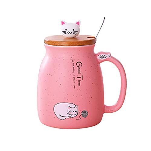 3 Unidades 420ML Taza de Cerámica Tazas Gato de Dibujos Animados con Cabeza de Silicona Tapa de Madera Cuchara de Acero Inoxidable Tazas de Agua Tazas de Leche para el Desayuno (Color Al Azar)