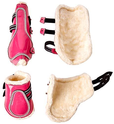 Cwell Equine New Bling Gamaschen & Streichkappen glitzernden Strasssteinen auf Patent Leder pink (COB).
