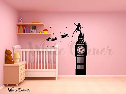 kau52 Big Ban Klok verhaal sprookje nooit Land Peter Pan Tinkerbell Kids kinderkamer Kinderen Muursticker Vinyl Decor Sticker Art Bedroom