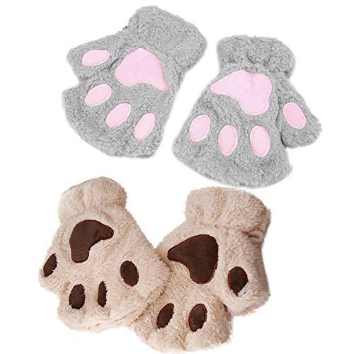 INTVN Fingerlos Handschuhe Katze-Greifer-Tatze Plüsch Fäustlinge Niedliche Cartoon Halbfinger Winter Warme Halbfinger Fausthandschuh Outdoor Fingerless Gloves, 2 Paare
