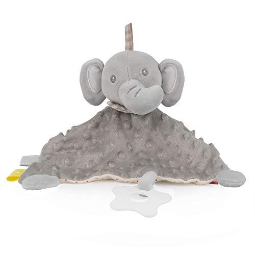 PomeloBaby Schnuffeltuch Minky Dots weich Schmusetuch Flauschiger Kuscheltier für Babys ab dem 1. Monat (Elefant Grau)
