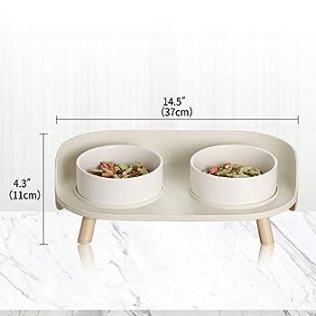 Gamelle Chat Chien - Gamelle Chat Surélevée avec Support - Gamelle pour Chat Chiens Anti Eclaboussure 480 ML - Double Ceramique Bol Eau et Nourriture pour Chats   Petit Chiot   Lapin