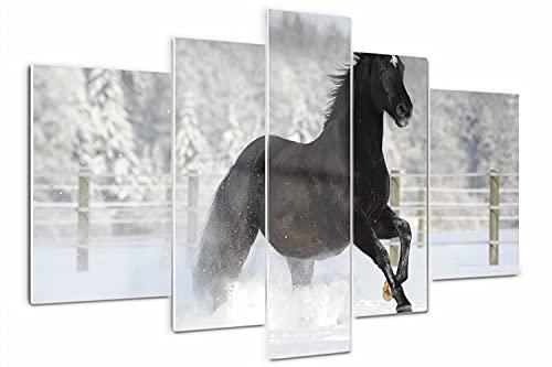 Tulup Cuadro de Cristal Impresión de 5 Piezas 170x100cm Pintura sobre Vidrio Moderno Decoracion de Pared Imagen Gráfica Vidrio Cristal - Una nieve caballo al galope
