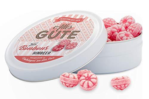 Fruchtige Himbeer-Bonbons in der traditionellen Bonbondose. Wünsche alles Gute mit leckeren Himbeerbonbons in der 120g Dose seit 1828!