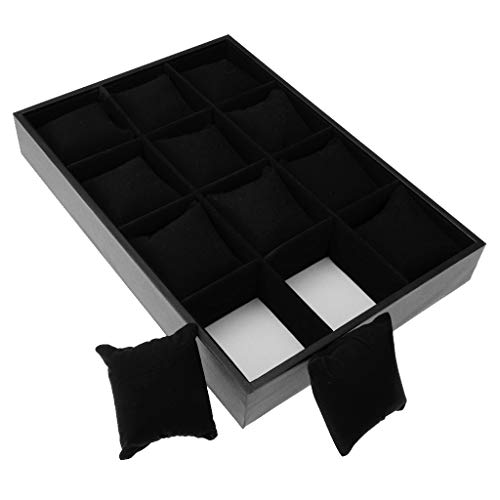 XXSW Cuero Reloj Caja 12 Rejilla de Terciopelo Caja de Reloj de Pulsera Organizador de Almacenamiento Display Box Box Almohadas Cajas (Color : Black)