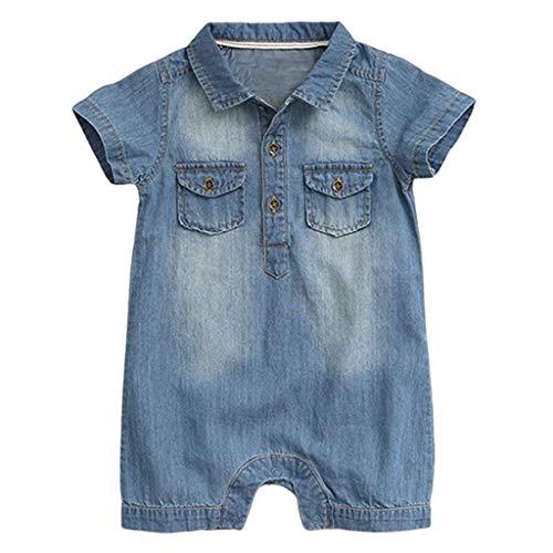 Bebé Mameluco de Mezclilla Mono Peleles Niños Niñas Manga Corta Pijama Ropa de Dormir