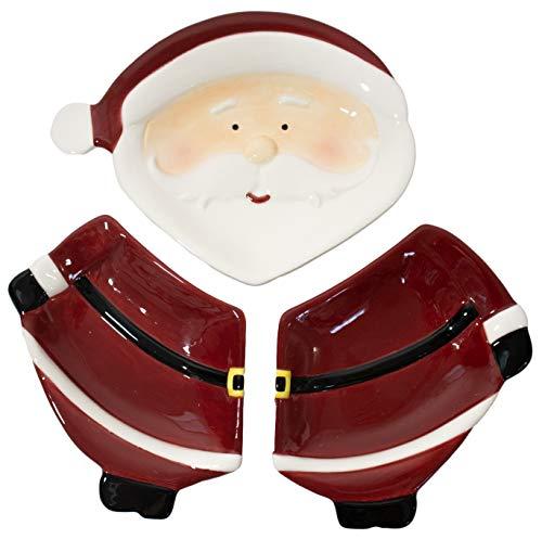 Christmas Themed Red Santa Ceramic 3-Section Server (3 Section Ceramic)