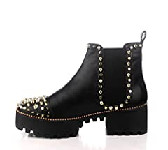 WHERE STYLE MEETS UTILITY: The black patent material complimented with gold spikes and studs pairs effortlessly with your everyday attire. Stand tall in the 1 inch platform front end outsole along with a 2 inch heel. FIERCE FASHION: Embrace your inne...