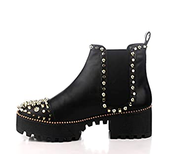 Cape Robbin Spiky Combat Ankle Boots for Women Platform Boots with Chunky Block Heels Gold Studded Chelsea Boots for Women - Black Size 7