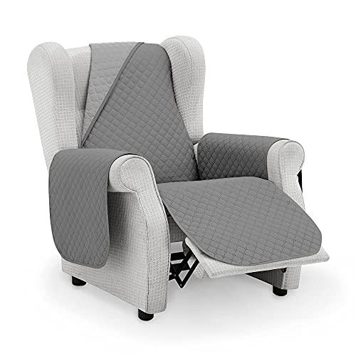 Protector Funda Sillon Relax. Cubre Sofa 1 Plaza. Cubre Sillon reclinable Acolchado Reversible. Fundas para Sofa Antimanchas. Rombos. Color Gris Oscuro - Gris. Cubre Sofa 1 Plaza/Relax 55 cm.