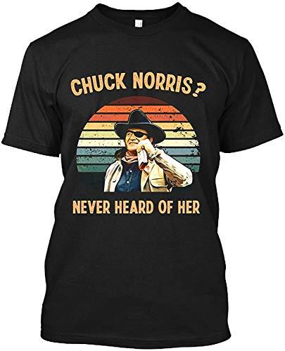 Chuck #Norris Never Heard Of Her Vintage Retro #John Lovers #Wayne Cowboy Movies T Shirt Gift Tee For Men Women