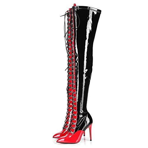 GIARO Veruska Premium Stiefel für Damen - Elegante High-Heels - Kniestiefel mit hohem Absatz - Damenstiefel - Stöckelschuhe für Frauen - erhältlich in 3 Farben (Schwarz-Rot, Numeric_42)