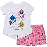Pinkfong Baby Shark Toddler Girls French Terry T-Shirt Shorts Set Pink/White 2T