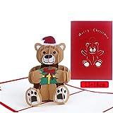 Cartoline di Natale, Cartoline D'Auguri 3D Per Regali di Natale Pop-Up Per Natale/Capodanno, Orso