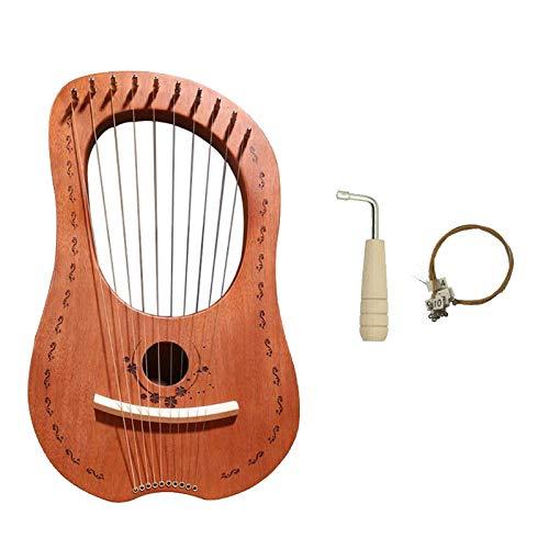 Xigeapg Lyre Harfe, 10 Saiten Holz K?rper Holz Furnier Top Saiten Instrument K?rper Instrument mit Stimm Schlüssel und Trage Tasche