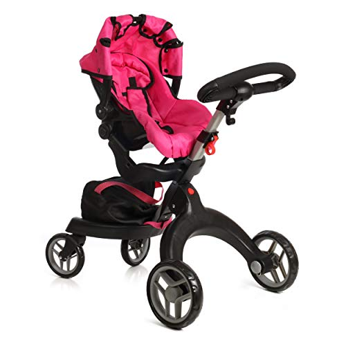 "Mommy & Me SoCutie Doll Stroller with Swiveling Wheels and Adjustable Handle. 31"" Tall, Carriage Bag Included"