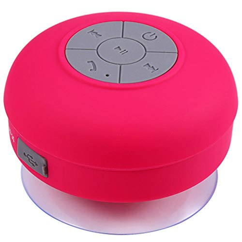 Altavoz Bluetooth portátil inalámbrico Altavoz de Ducha Bluetooth Impermeable Manos Libres-Rosa roja