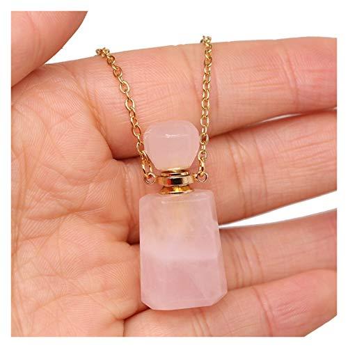 HETHYAN Collar con colgante semiprecioso, de piedra natural, para mujer elegante, regalo romántico, 60 cm, longitud: 60 cm, color del metal: cuarzo rosa