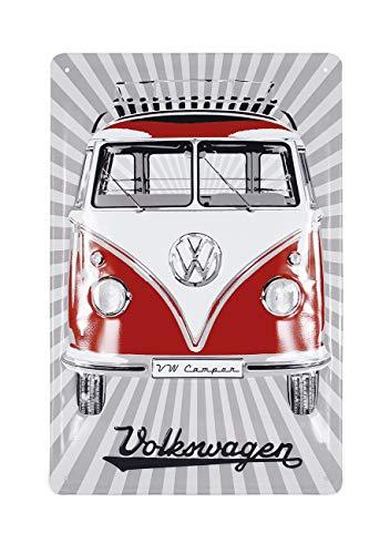 Brisa VW Collection - Volkswagen Furgoneta Hippie Bus T1 Van Placa Metálica, Cartel de Metal para Pared, Chapa Decorativa Vintage, Póster para Hogar/Taller/Regalo/Souvenir (Rayas/Rojo)