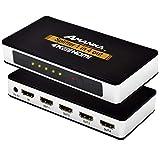 AMANKA HDMI Splitter Divisor de HDMI 1 Entrada 4 Salidas de Conmutación Inteligente U HD 4k con Fuente de Alimentación EU Plug DC - 3D Amplificador Activo para Poder HDTV PC PS3 Xbox Sky Box STB HDCP