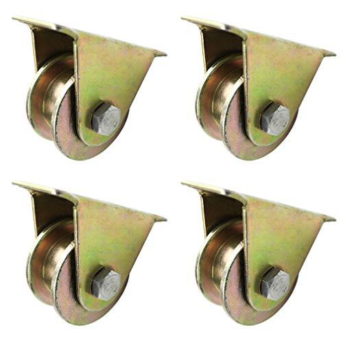 KDDEON 4 Ruedas Giratorias de Servicio Pesado,Rueda de Oruga con Ranura en H,Rodillo de Puerta Corrediza,con Doble Rodamiento,Capacidad de Carga de 3969 LB (4in/100mm)