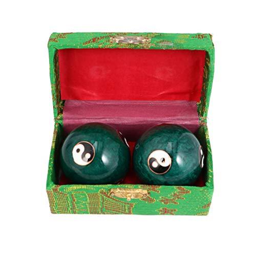 SUPVOX Bolas de Salud Chinas Baoding Ball Tai Chi Chimes Ying Yang Bolas de Masaje Articulaciones de La Mano Bolas de Ejercicio de Dedo Colección Artesanal 47Mm