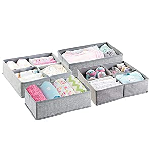 mDesign Soft Fabric Dresser Drawer and Closet Storage Organizer Set for Child/Kids Room, Nursery, Playroom – 4 Pieces, 10 Compartments, Set of 2 – Textured Print – Gray
