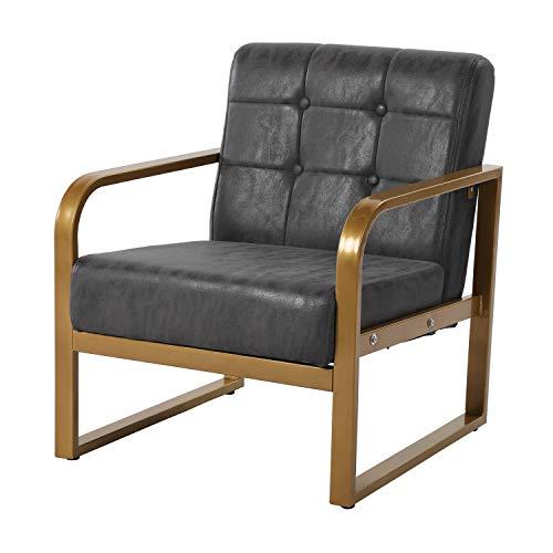 H.J WeDoo 1 x Fauteuil Salon, Chaise Longue siège en Similicuir avec Buttons, Convient au Chambre à Coucher Salon Balcon Bureau, Gris Foncé