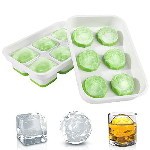 DOQAUS Eiswürfelform 2-Set große Eiskugelform & Eiswürfelbehälter Silikon, BPA-frei Eiswürfelformen mit Deckeln für Whisky, Cocktails, Gefrierschrank, einfach zu wiederverwendbare Ice Cube Trays