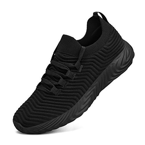 Feetmat Mens Running Shoes Slip On Resistant Tennis Work Sneakers Lightweight Breathable Athletic Fashion Gym Sport Non Slip Casual Walking Shoes for Men Black 9.5 M US