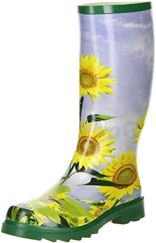 ConWay Damen Gummistiefel Sonnenblumenmuster gelb, Größe:42;Farbe:Grün