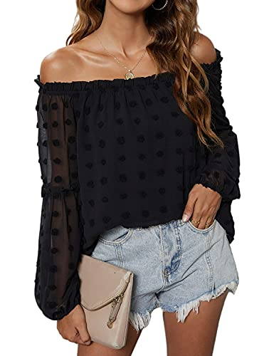 Blooming Jelly Women's Casual Black Off The Shoulder Tops Chiffon Blouses Long Sleeve Shirts Flattering Pom Pom Top(Medium,Black
