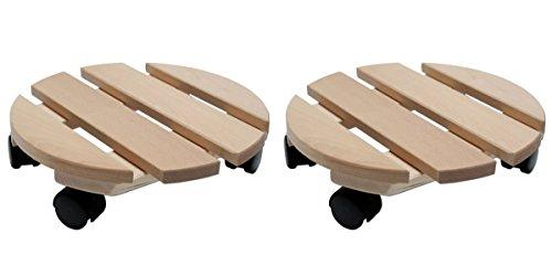 Pflanzenroller Holz MASSIV rund 30 cm bis 120 KG (2)