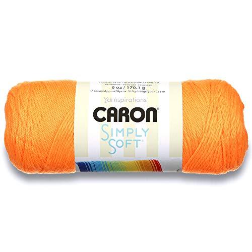 Caron Simply Soft Solids Yarn (4) Medium Gauge 100% Acrylic -  -   Neon Orange  -  Machine Wash & Dry