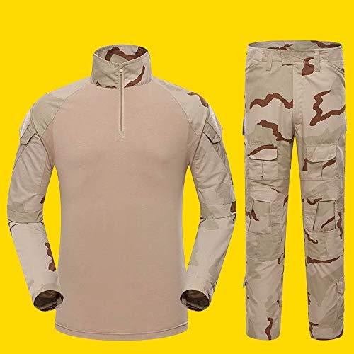 MILASIA Mann Tactical Camouflage Uniformen 2 Stücke Sets Military Anzug Armee Jagd Hosen Atmungsaktive Langarm Reißverschluss Kragen T-Shirt Gitter Outfit Kleidung