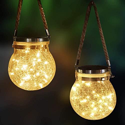 Mafiti Luz LED solar decorativa de vidrio, luces de jardin, luz LED de jardin, 2-pack LED string lights, linternas solar, decoración para Navidad, fiestas, festivales