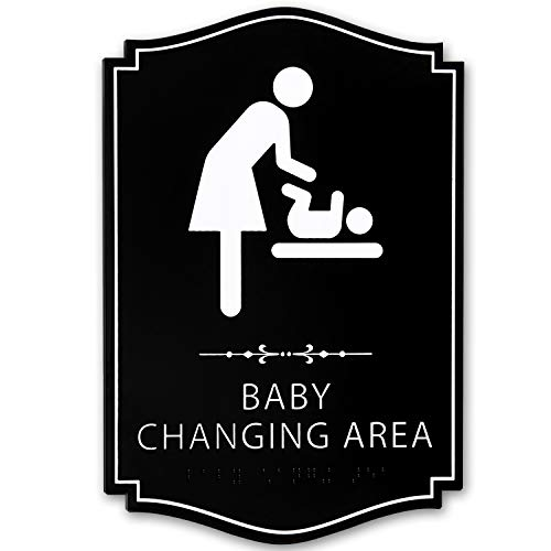 KickFire Classics Braille Baby Changing Station Sign - ADA Compliant Black and White Signage - Strong Double Sided Tape - Durable Wall Mount Board for Public, Daycare, Restroom, Bathroom, Restaurant