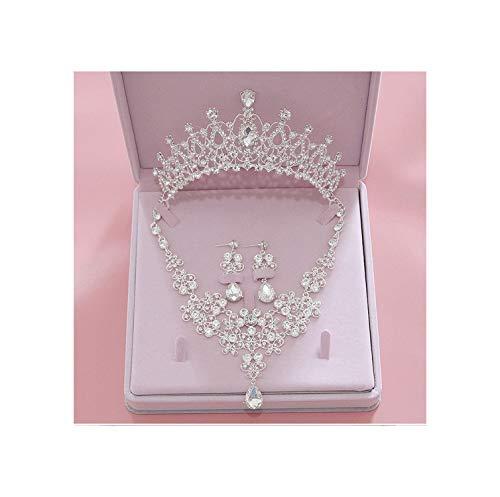Hoge Kwaliteit Kristal Bruiloft Sieraden Sets Vrouwen Bruid Tiara Kronen Oorbel Ketting Bruiloft Sieraden Kleur