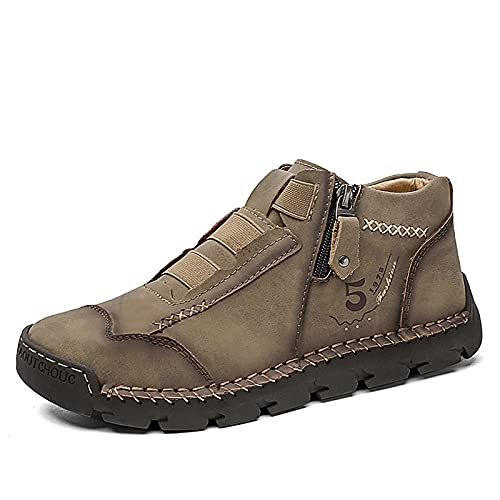 Men's Plus Size Sock Boots, High-top Shoes for Autumn and Winter, Fashion Retro Peas Shoes,US 8 Brown,