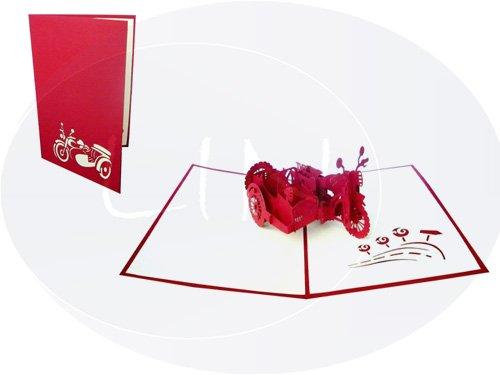 LIN - Pop Up Tarjeta de felicitación, diseño de moto con sidecar en 3D