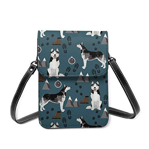 Small Shoulder Bag, Husky Hiking Dark Navy Blue Husky Mountains Dog Crossbody Bag CellPhone Wallet Purse Lightweight Crossbody Handbags for Women Girl
