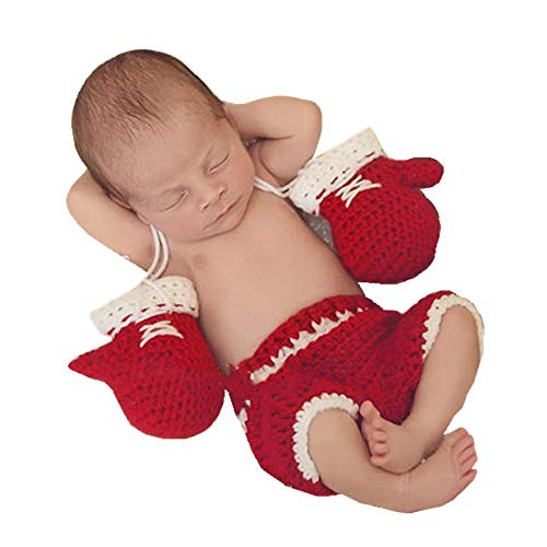 Bebé conjunto de guantes de boxeo de ganchillo hecho a mano de punto recién nacido Fotografía Prop Pantalones Trajes (Color : Red, Size : 0-3M)