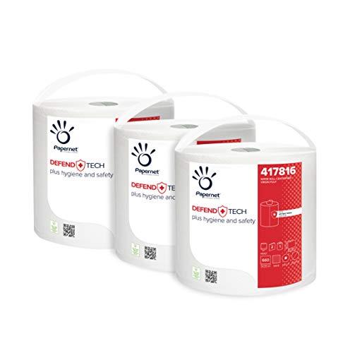Papernet Bobina Industriale DefendTech 417816 | Carta Asciugatutto a 2 veli con formula antibatterica | Compatibile con Dispenser Centrefeed 416167 | 3 rotoli per 660 strappi 24,2x23,4c