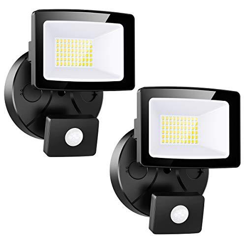 Onforu 2× 30W Foco LED Exterior con Sensor de Movimiento, Impermeable IP65 3000LM Proyector LED con Detector, Iluminación de Seguridad, Blanco Frío para Patio Pared