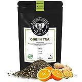Edward Fields Tea ® - Té verde orgánico a granel con Jengibre y Naranja. Té bio recolectado a mano con ingredientes y aromas naturales, 100 gramos, China.